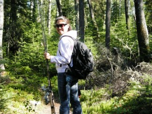 Hiking during a Portage Lake Fishing Trip